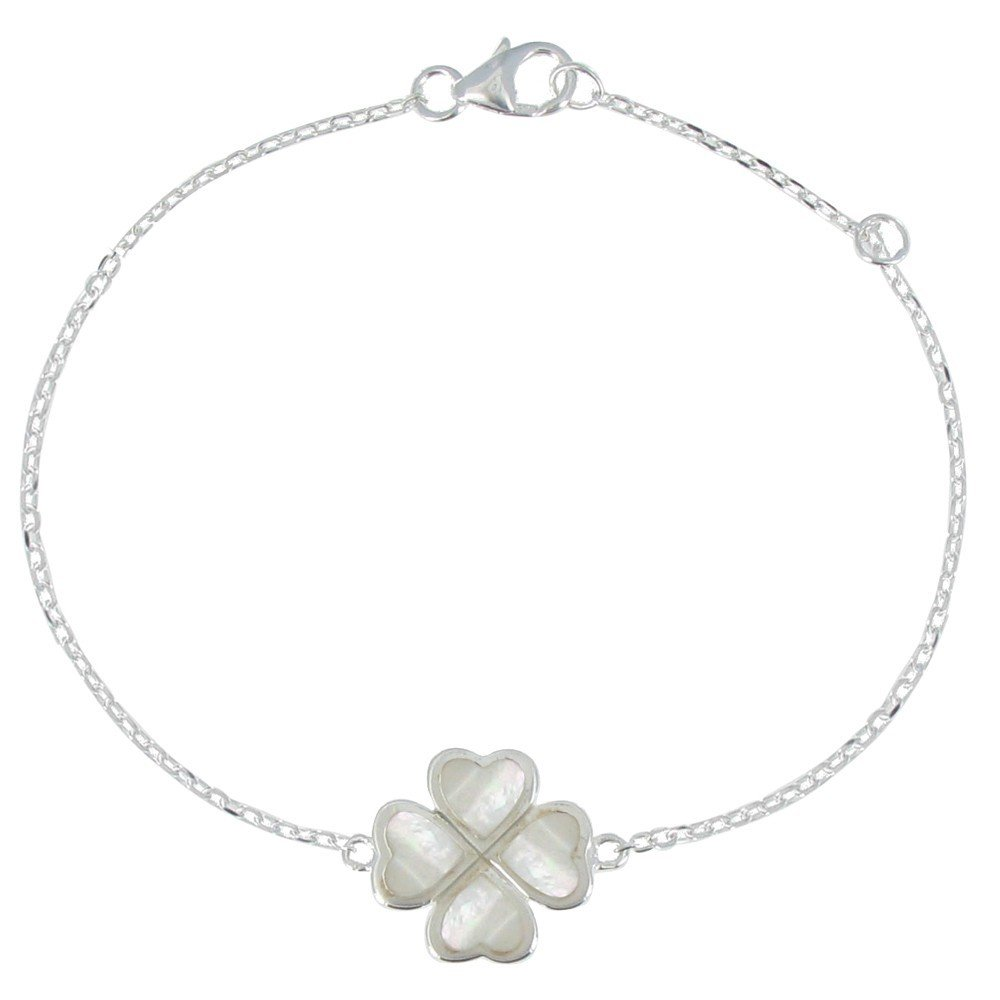 Les Poulettes Jewels - Sterling Silver Bracelet Mother of Pearl Clover