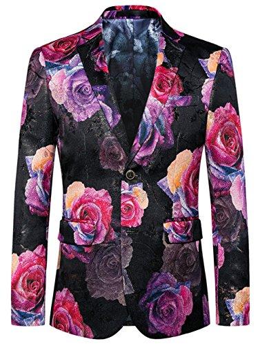 MOGU Mens Blazer Pink Floral Casual Large Size Slim Fit Suit Jacket US Size 38 (Asian Label Size 3XL)