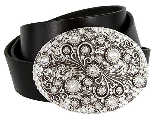 Timeless Tranquility Swarovski Crystal Floral Buckle Genuine Leather Belt for Women (Black, 32)