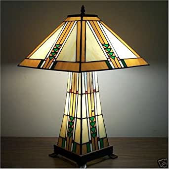 american made lampshade tiffany stained glass table lamp lamps mission style with litbase. Black Bedroom Furniture Sets. Home Design Ideas