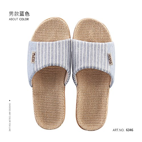 42 Stay and Anti of Slippers Couples Men Slip in Summer Linen Cool Thick Women Cotton Blue The Summer Flax and Slippers Indoor Home fankou 43 Yn4PxqBvx