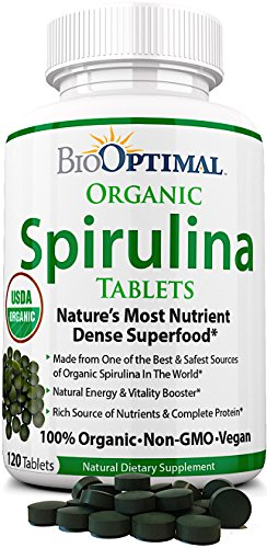 BioOptimal Spirulina Tablets 100% USDA Organic, Premium Quality 4 Organic Certifications, Non-GMO, No Additives Capsules or Fillers, Easy-to-Swallow, 120 Count 1 Month Supply