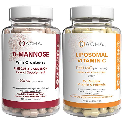 Ultimate Urinary Tract Health Bundle – D Mannose UTI Prevent and Liposomal Vitamin C, with Cranberry, Ascorbyl Palmitate…