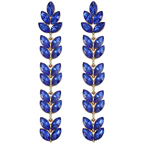 - Stylebar Long Chandelier Dangling Earrings Sapphire Color Leaf Marquise Blue Austrian Crystal Dangle Earring Gold-tone for Women Wedding Brides and Bridesmaids