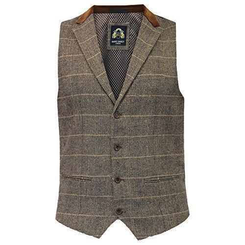 Mens Waistcoat Marc Darcy Vest Formal Herringbone Tweed Velvet Collar Check New JODX7