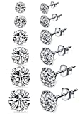 Sterling Silver Studs Earrings, 4-6 Pairs, Round Clear Cubic Zirconia Stud Earrings for Sensitive Ears priercing