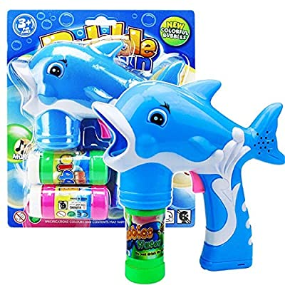 Viesbroty-toy Kids Interesting Interactive Toys Children's Recreational Toys Dolphins Modelling with Bubble Liquid Music Bubble Gun Automatically Educational Toys (Color : Blue): Home & Kitchen