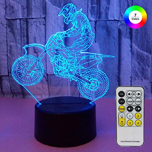 Aidool Night Lights for Kids Motocross Lamp 3D Night Light Bedside Lamp 7 Colors Changing with Remote Control Birthday Gifts for Boys Girls Kids Baby
