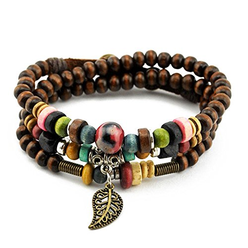 Old Gym Teacher Costume (Handmade Multilayer Wood Beads Cuff Wrap Bracelet with Leaf Charms, Button Clasp)