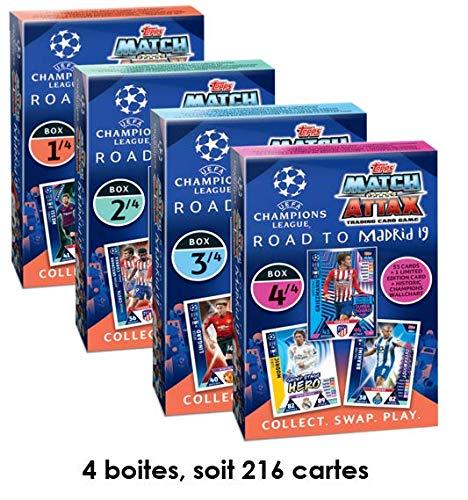 Champions League Road to Madrid 19 – Collezione Complete – Set di 4 scatole di Carte – o 216 al Totale – Topps