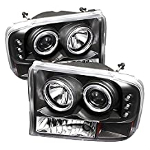 Spyder Auto Ford F250/F350 Super Duty/Ford Excursion Black Halogen LED Projector Headlight