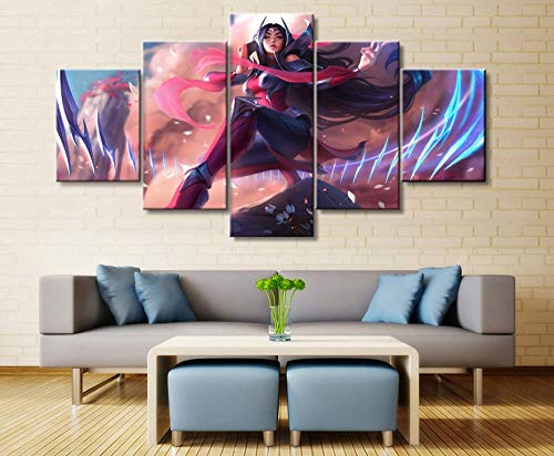 sansiwu 5 Panel League of Legends Irelia Game Canvas Printed Painting for Living Room Wall Art Decor Hd Picture Artworks Poster