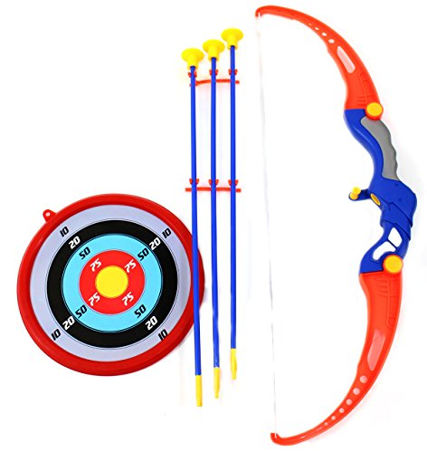 PowerTRC Toy Archery Bow And Arrow Set for Kids With Arrows, Target, and Quiver -