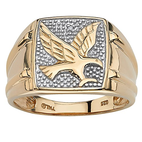 Yellow Diamond Accent - Men's 18K Yellow Gold over Sterling Silver Diamond Accent Two-Tone Eagle Ring Size 10