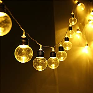 Sogrand Solar String Lights Outdoor Decorations 30 Bulb Decorative Garden Home Decor Fairy Light Warm White LED Deal of The Day Prime Today Landscape Ornaments Lamp Waterproof for Outside Party Yard