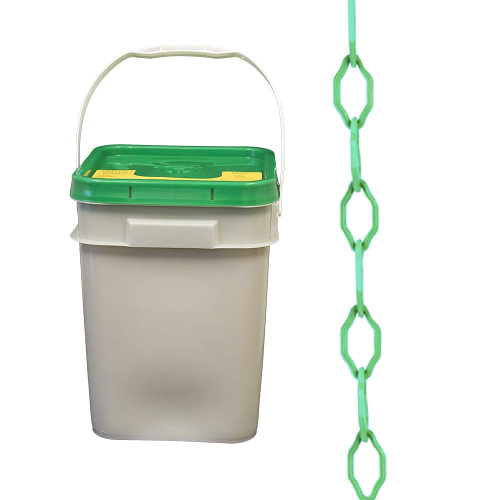 Mr. Chain Gothic Plastic Barrier Chain Pail, Green, 2-Inch Link Diameter, 280-Foot Length (53004-P)