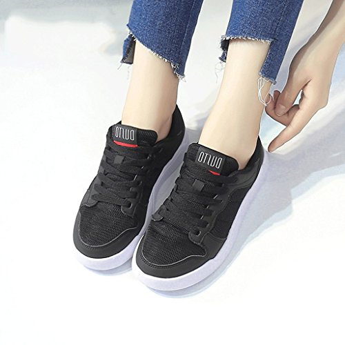 Schwarz Mesh Schuhe Running Komfortable Outdoor Sportschuhe Breathable Schuhe flache größe up Schuhe 37 Fashion Lace Casual Schuhe Student Schuhe Farbe Schwarz Skateboard BqxwU7ZtY