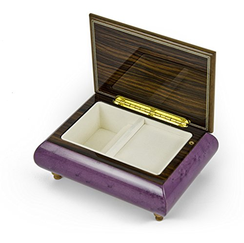 Old World 30 Note Italian Violet Floral Music Jewelry Box - Can't Help Falling in Love