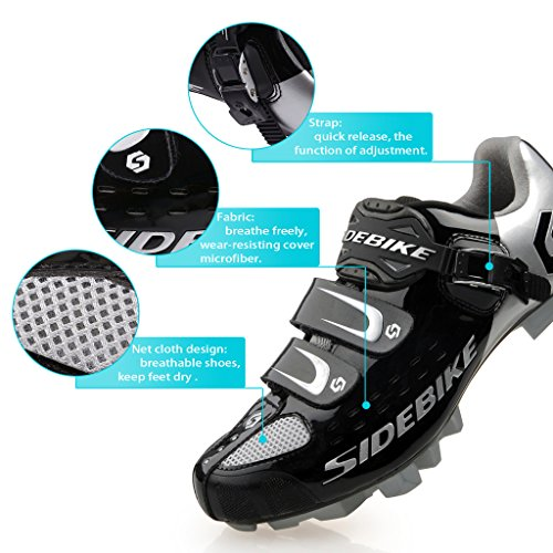 SIDEBIKE MTB Fahrradschuhe Herren Professional Mountainbike Schuh SD001-Schwarz Silber