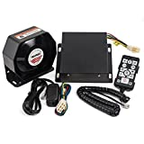 YHAAVALE 9200E Amplifier Police Siren & Metal Ultra Slime Octagon Compact Flat Speaker,DC12V 100W Multi-tones Wired Control with Mic Loudspeaker Emergency Electronic PA System for Police Cars