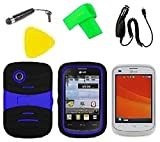lg 305c phone case - Heavy Duty Hybrid Phone Case Cover Cell Phone Accessory + Car Charger + Extreme Band + Stylus Pen + LCD Screen Protector Guard + Yellow Pry Tool for For Virgin Mobile LG Aspire Paylo 305C (S-Hybrid Black Blue)