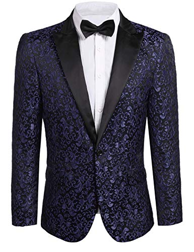 JINIDU Men's Floral Party Dress Suit Stylish Dinner Jacket Wedding Blazer Prom Tuxedo Navy Blue