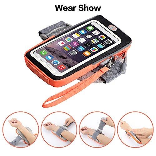 Kainnt Atmungsaktives Sport Armband, Fingerabdruck Armband mit Multifunktionalen Taschen zum Laufen, Joggen, Gehen, Wandern, Workout und Sport, für iPhone 7,7 plus, 6, 6s, 6s plus, Samsung Galaxy S8,