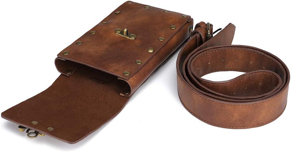 Steampunk Hiking Waist Bag Dark Brown Womens Multifunction Fashion Trumpet Postman Messenger Bag Men Belt Bag Mobile Phone Outdoor Bag Brown