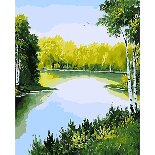 Paint by Numbers Landscape Snow at Dusk Autumn Pink Pictures Home Decor Pictures Painting by Numbers Handwork Draw On Canvas Living Room Wall Art (How To Draw Snow With Oil Paints)