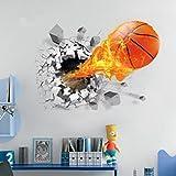 "U-Shark 3D Self-Adhesive Removable Break Through The Wall Vinyl Wall Stickers/Murals Art Decals Decorator (Flying Fire Basketball (19.7"" X 27.6""))"