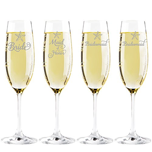 Starfish Bride -Maid of Honor - Bridesmaid Champagne Toasting Flute Glasses, Set of (Starfish Champagne)