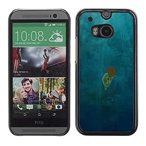 Paccase / SLIM PC / Aliminium Casa Carcasa Funda Case Cover para - Scattered Light Diving Deep Girl - HTC One M8
