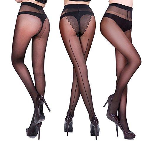 HONENNA Women's Semi Sheer Pantyhose Tights with Black Seam & Reinforced T Crotch (3Pack) (Medium, Black)