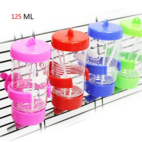 JOLIN'S SHOP 125ML Hamster Water Bottle No Drip Plastic Cage Drinking Water Bottle Waterer for Small Animal Pet Color random (125ML)