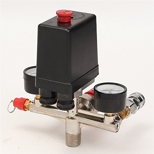 Bluedophin Air Compressor Pressure Control Switch Valve Manifold Regulator W//Gauges Relief Auto Control Auto load//unload