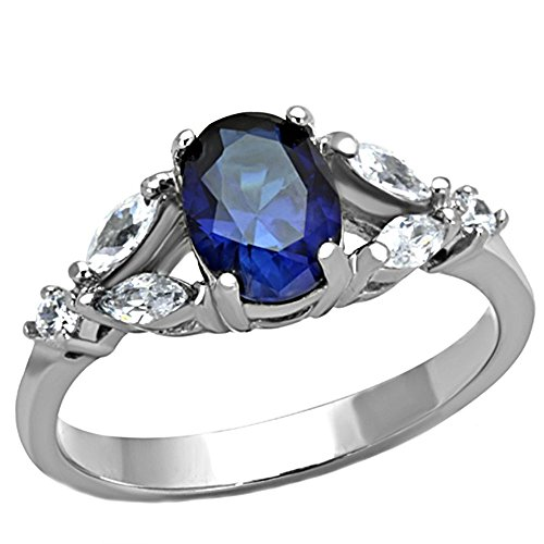 Stainless Steel Sapphire Crystal - Twilight: 1.96ct Simulated Blue Sapphire Crystal Split Band Engagement Ring 316 Steel, 3239B sz 7.0