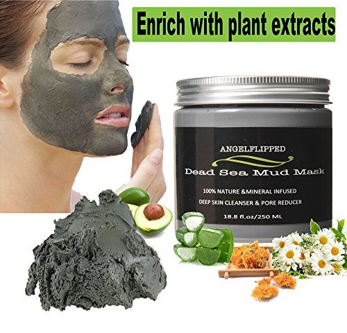 AngelFlipped Dead Sea Mud Mask Pure Natural Minerals Deep Cleaning the Skin , Blackhead Mask, Minimize Pores, Reduce Wrinkles, Improves Complexion, Acne Treatment for Facial Treatment 8.8 FL OZ