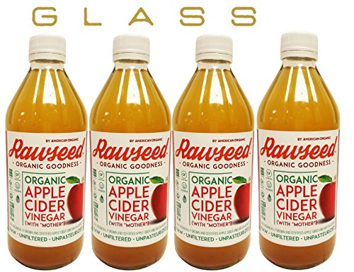 Rawseed Organic Apple Cider Vinegar (4 Pack)16 oz each one glass bottles with the ()