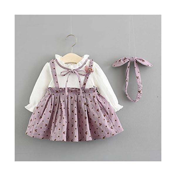 LZH Le Neonate Vestono l'Abbigliamento per Bambini in Cotone Rosa 2 Pezzi Gonna Lavorata a Maglia Abito da Principessa… 2