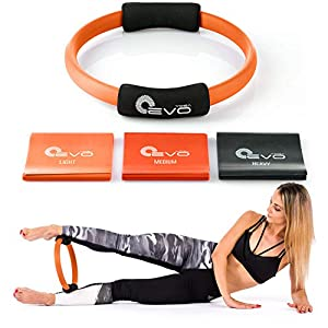 Pilates Ring and 3 Resistance Bands Set Fitness Circle Yoga Ring 12″