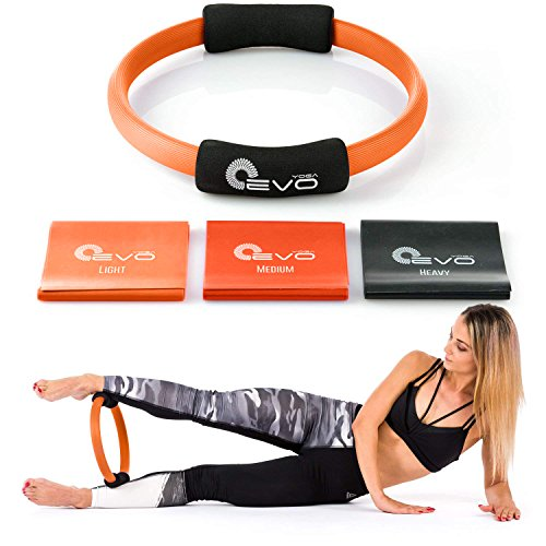 Yoga EVO Foam Grip Pilates Ring + Resistance Bands - Fitness Magic Circle for Toning Thighs, Abs and Legs