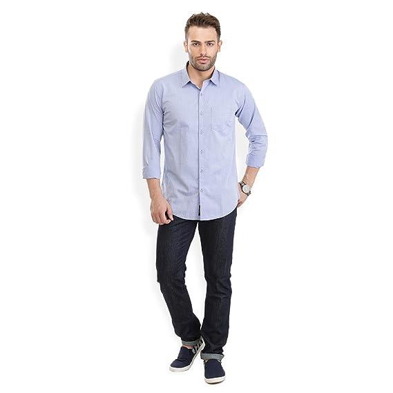 Urban Attire American Blue Dobby Mens Semi Formal Shirt Amazon