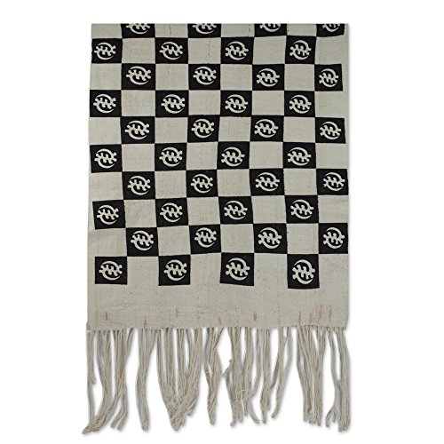 NOVICA Black and Ivory 100% Cotton Shawl, 'I Fear God' by NOVICA
