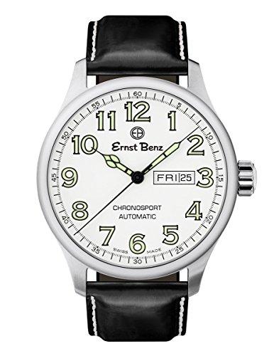 Ernst Benz Chronosport Swiss Automatic White Dial Green Numerals 44mm Mens Watch (Swiss Eta 2836 2 Automatic)