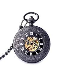 Roman Numerals Noctilucent Hands Mens Automatic Self Winding Black Pocket Watch
