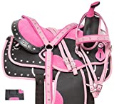 Acerugs 14″ 15″ 16″ 17″ 18″ Pink Crystal Light Weight Western Synthetic Horse Saddle TACK Set PAD
