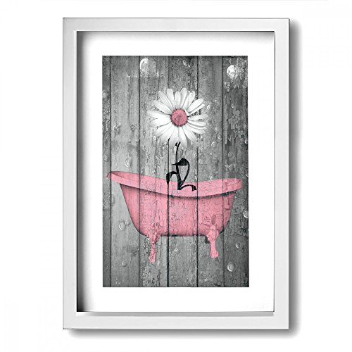 Ale-art Modern Frame Bathroom Canvas Prints Daisy Flowers Pink Matted Floral Vintage Rustic Theme Pictures Bath Wall Art Ready to Hang for Home Decor ()