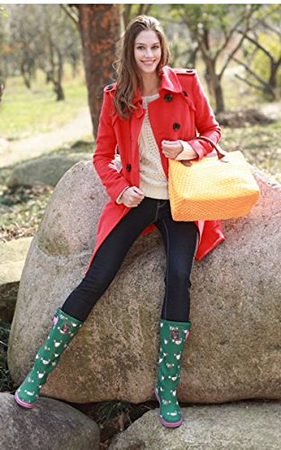 Evercreatures Chicken Tall - Botas de agua, color: verde verde - verde