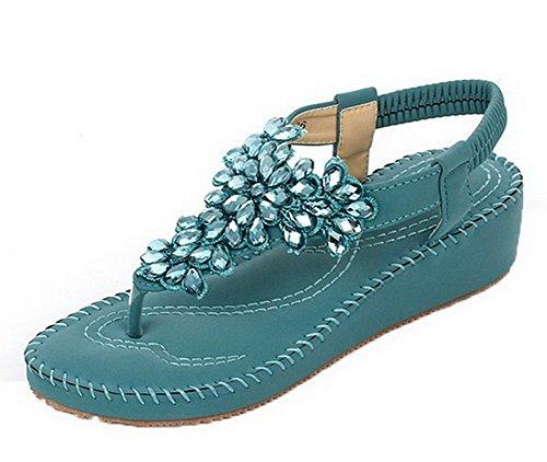 PU Heels Blue Solid Toe VogueZone009 Kitten Split Sandals Elastic Women gHnYHwqx5v