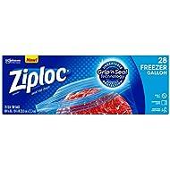Ziploc Freezer Bags, Easy Open Tabs, Gallon, 28 Count